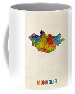 Coffee Mug featuring the digital art Mongolia Watercolor Map by Michael Tompsett