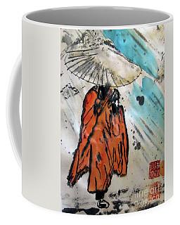Monk In Rain, Chinese Watercolor Coffee Mug