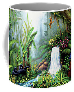 Coffee Mug featuring the painting Monkeying Around by Lynn Buettner