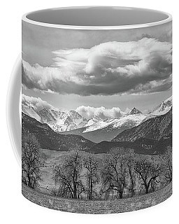 Coffee Mug featuring the photograph Monochrome Rocky Mountain Front Range Panorama Range Panorama by James BO Insogna