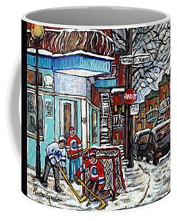 Monsieur Hot Dog Montreal Winter In The City Streetscene Hockey Art Paintings For Sale C Spandau Art Coffee Mug