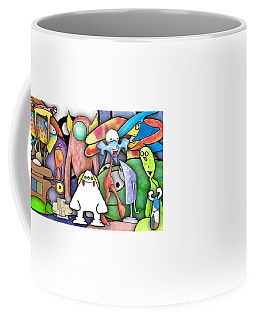 Coffee Mug featuring the digital art Monster Banner - Digital Collage by Uncle J's Monsters