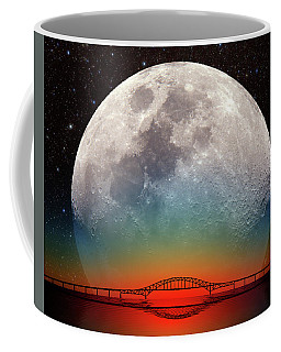 Coffee Mug featuring the photograph Monster Moonrise by Larry Landolfi