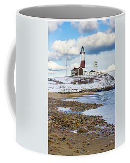 Montauk Lighthouse Winter Beach Coffee Mug