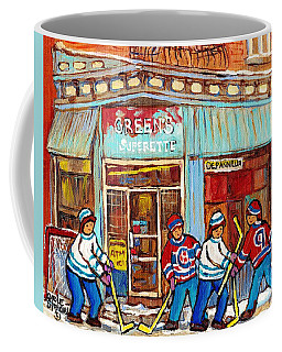 Montreal Paintings Canadian Winter Scene Painting For Sale Greens Depanneur Mcgill Ghetto C Spandau  Coffee Mug