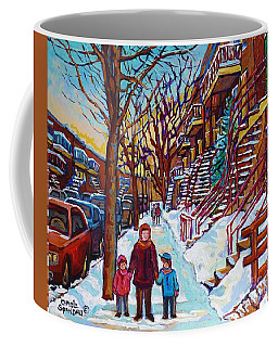 Montreal Paintings Staircase Scenes For Sale Winter Stroll Verdun To Plateau Mont Royal Winter Scene Coffee Mug