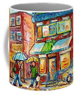 Montreal Rainy Day Paintings Fairmont Bagel Shop April Showers Umbrellas Canadian Art C Spandau      Coffee Mug