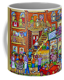 Coffee Mug featuring the painting Montreal Summer Street Scene Art Neighborhood Block Party Cooper's Store Carole Spandau              by Carole Spandau