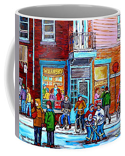 Montreal Winter Scene Bicycles And Hockey At Wilensky's Lunch Counter Canadian Art Carole Spandau Coffee Mug