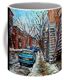 Montreal Winter Staircases Painting For Sale Snowy Street Scene Carole Spandau Quebec Artist Coffee Mug