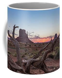 Monument Valley Sunrise With Wood  Coffee Mug