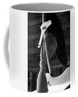 Monumental Sculpture In Front Of A Building, Chicago Picasso, Daley Plaza, Chicago, Illinois, Usa Coffee Mug