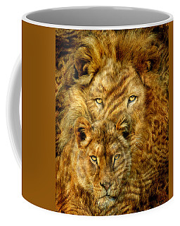 Coffee Mug featuring the mixed media Moods Of Africa - Lions 2 by Carol Cavalaris