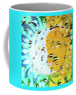 Coffee Mug featuring the photograph Moon And Sun Rainy Day Windowpane by D Davila