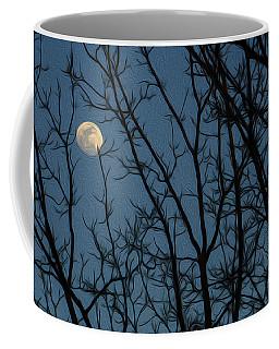 Moon At Dusk Through Trees - Impressionism Coffee Mug