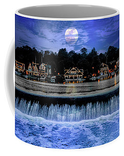 Coffee Mug featuring the photograph Moon Light - Boathouse Row Philadelphia by Bill Cannon