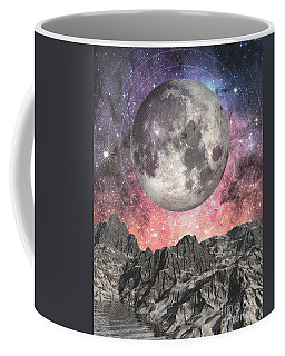 Coffee Mug featuring the digital art Moon Over Mountain Lake by Phil Perkins