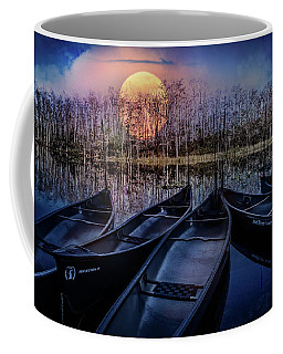 Coffee Mug featuring the photograph Moon Rise On The River by Debra and Dave Vanderlaan
