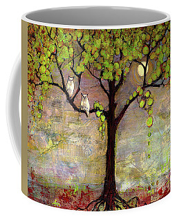 Moon River Tree Owls Art Coffee Mug