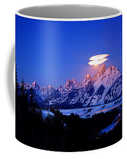 Moon Sets At The Snake River Overlook In The Tetons Coffee Mug