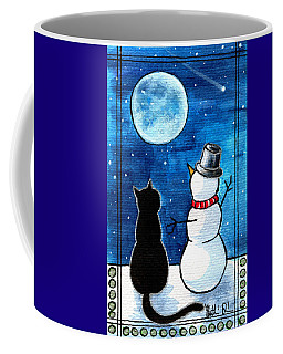 Moon Watching With Snowman - Christmas Cat Coffee Mug