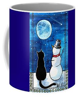 Moon Watching With Snowman - Christmas Cat Coffee Mug