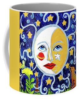 Moonface With Wolf And Stars Coffee Mug by Genevieve Esson