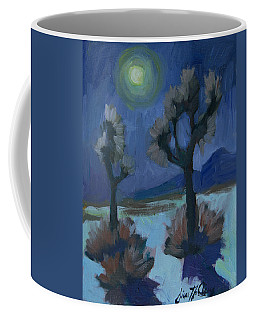 Coffee Mug featuring the painting Moonlight And Joshua Tree by Diane McClary