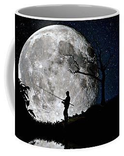 Coffee Mug featuring the photograph Moonlight Fishing Under The Supermoon At Night by Justin Kelefas