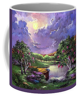 Coffee Mug featuring the painting Moonlight In The Woods by Randol Burns