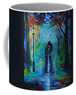 Coffee Mug featuring the painting Moonlight Kiss by Leslie Allen