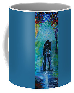 Coffee Mug featuring the painting Moonlight Kiss Series 1 by Leslie Allen