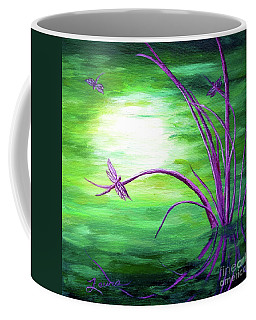 Moonlight On Green Water Coffee Mug by Laura Iverson