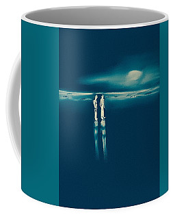 Coffee Mug featuring the painting Moonlight On The Beach by Frank Bright