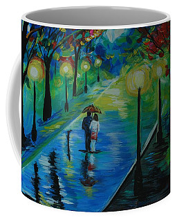 Coffee Mug featuring the painting Moonlight Stroll by Leslie Allen