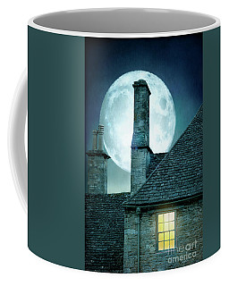 Moonlit Rooftops And Window Light  Coffee Mug by Lee Avison