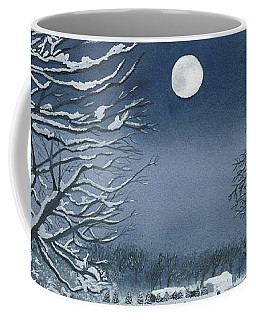 Moonlit Snowy Scene On The Farm Coffee Mug