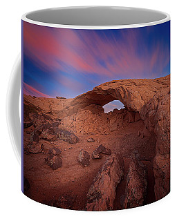 Coffee Mug featuring the photograph Moonrise Arch by Edgars Erglis