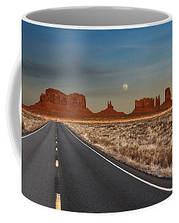 Coffee Mug featuring the photograph Moonrise Over Monument Valley by Lou Novick