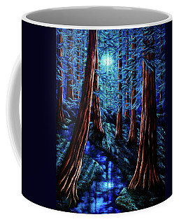Moonrise Over The Los Altos Redwood Grove Coffee Mug by Laura Iverson