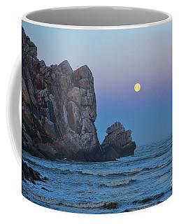 Moonset By The Rock Coffee Mug