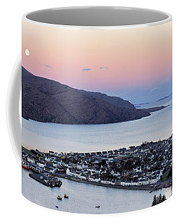 Coffee Mug featuring the photograph Moonset Sunrise Over Ullapool by Grant Glendinning