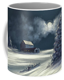 Coffee Mug featuring the digital art Moonshine On The Snow by Lois Bryan