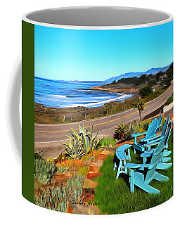 Coffee Mug featuring the photograph Moonstone Beach Seat With A View Digital Painting by Barbara Snyder