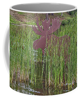 Coffee Mug featuring the photograph Moose In Bulrushes by Sue Smith