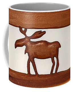 Coffee Mug featuring the mixed media Moose Walking Through The Forest by Robert Margetts