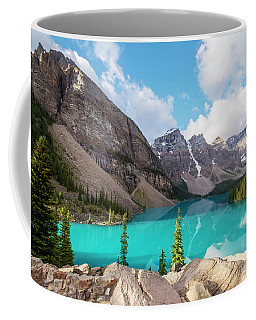 Coffee Mug featuring the photograph Moraine Lake Banff National Park by Joan Carroll