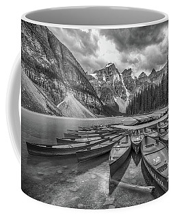 Moraine Lake In Black And White Coffee Mug