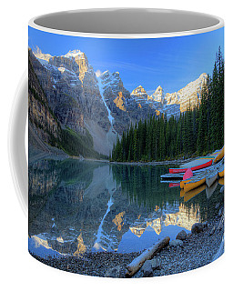 Moraine Lake Sunrise Blue Skies Canoes Coffee Mug