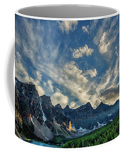 Moraine Lake Sunset - Golden Rays Coffee Mug